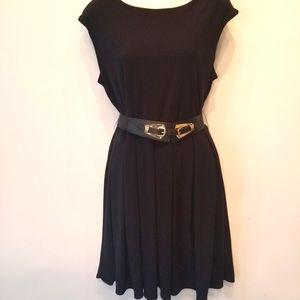 Alfani Petite Black S/L Belted Dresss Size L